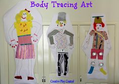 Body tracing collage art - Creative Play Central