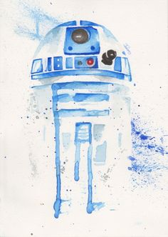 R2-D2 watercolor Art Print by ILores | Society6 STAR WARS Star Wars Empire, JEdi Luke, space sci fi fanart