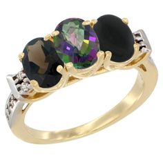 10K Yellow Gold Natural Smoky Topaz, Mystic Topaz and Black Onyx Ring 3-Stone Oval 7x5 mm Diamond Accent, sizes 5 - 10 -- Tried it! Love it! Click the image. : Jewelry Ring Bands