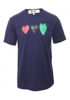 Comme Des Garcons PLAY Clothing | Navy Collection Mens Three Heart T-Shirt Navy| Buy Comme Des Garcons Play Clothing Online #hervia #commedesgarcons #play