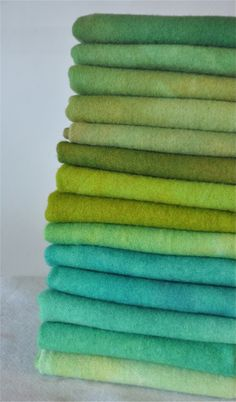 shades of green / blue / teal / aqua / mint / white / colour / ombre / rainbow / textiles