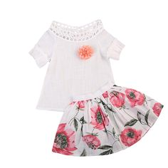 Pudcoco 2Pcs Cute Toddler Kids Baby Girls Summer Lace Tops T shirt + Floral Skirt Dress Outfits Princess Clothes Set