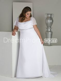Awesome Empire Square Short-Sleeve Floor-Length Chapel Beaded Plus Size Wedding Dresses