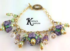 Gold, Purple, Green, Quartz Charm Bracelet by DivaKreations on Etsy