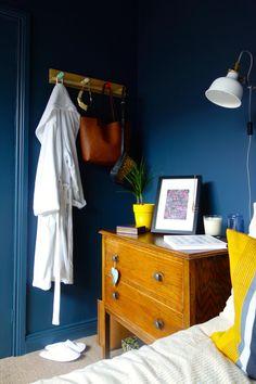 Ikea PS Coat Hooks and Ranarp Wall Light Valspar Deep Shadow Dark Blue walls similar to Farrow and Ball Hague Blue and Stiffkey Blue