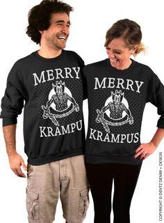 Merry Krampus - Black/White Crew Neck Sweatshirt - Christmas Holiday Sweater