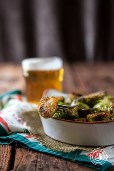 Sriracha Honey Beer Brussels  by the beeroness #Brussel_Sprouts #Honey #Beer #Sriracha