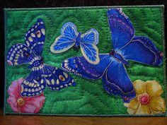 Quilted Fabric Postcard Butterflies.