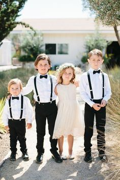 Romantic vineyard wedding in San Luis Obispo San Luis Obispo wedding Styled by Beijos Events / Photo by Megan Welker / Flower girl and ring bearer portrait<br> November Wedding Colors, Wedding Attire, Wedding Dresses, Boys Wedding Outfits, Gown Wedding, Wedding Bouquets, Lace Wedding, Bridesmaid Dresses, Ring Bearer Outfit