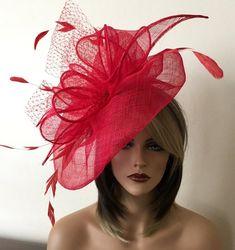 Items similar to Kentucky Derby Hat, Del Mar Hat, Royal Ascot Hat, Derby Hat, Sinamay Hat on Etsy Chapeaux Pour Kentucky Derby, Kentucky Derby Hats, Red Fascinator, Sinamay Hats, Fascinators, Headpiece, Turban, Royal Ascot Hats, Red Hat Society