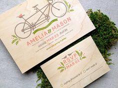 Tandem Bike & Birds Real Wooden Wedding Invitation