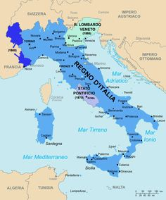 Mappa riguardante il regno d'Italia all'atto della sua proclamazione (1861). La religione di stato era il cattolicesimo, altre religioni minoritarie erano l'ebraismo e l'evangelismo.