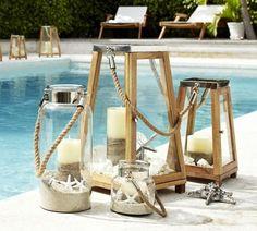 déco autour de la piscine en lanternes en bois et verre esprit bord de mer