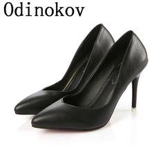 Odinokov Sexy Women's Fashion High Heels  Women Pointed Toe OL Slip On Ladies Pumps Red Bottom Shoes Stiletto Scarpe