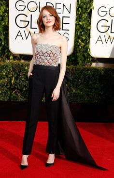 Emma Stone in a bedazzled Lanvin jumpsuit at the 2015 Golden Globes..