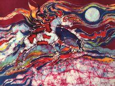 Amity Farm Batik Artworks by Carol Law Conklin by amityfarmbatik Horse Galloping, Western Theme, Summer Heat, Plexus Products, Etsy Seller, Horses, The Originals, Fabric, Prints