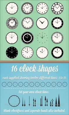 Clock Custom Shapes  #GraphicRiver         A set of 16 Photoshop Custom shapes and Illustrator Vector shapes. Each clock has 12 variations (one for each hour of the day).   I have also added a set of blank clock faces and individual clock hands so that you can set the clocks to any time you like and also create your own combinations.   The set of clocks shown in the preview image is also included.   Contents of the download:   Photoshop custom shape file, Illustrator EPS file…