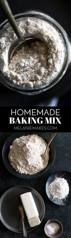This four ingredient Homemade Baking Mix comes together in just minutes. The perfect base for biscuits, pancakes, muffins - you name it! - it's the perfect cup for cup substitution for Bisquick or Jiffy Baking Mix.