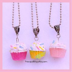 Sprinkle Cupcake Necklace Clay Necklace   Vanilla by tranquilityy