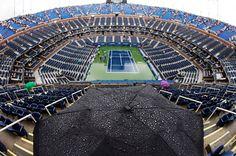 Rain delay for the start of a U.S. Open semifinal match.  September 2011.  #tennis
