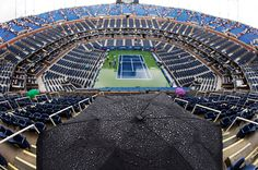 Rain delay for the start of a U.S. Open semifinal match.  September 2011.  #tennis