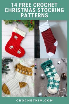 With patterns to suit all levels of crocheters, you will be spoiled for choice deciding which Crochet Christmas Stocking to make this Holiday season. #free #crochetpatterns #forholidays #stockings Crochet Christmas Stocking Pattern, Holiday Crochet Patterns, Crochet Stocking, Vintage Christmas Stockings, Mini Stockings, Granny Square Stocking, Cool Advent Calendars, Stocking Tree, Holiday Crafts