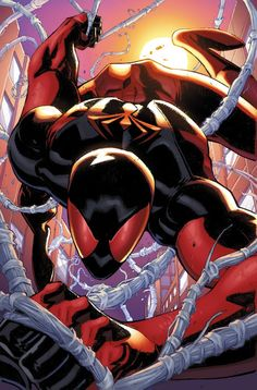 Scarlet Spider is a fictional character, a superhero in the Marvel Comics universe. Created by Tom Lyle and first appearing (as the Scarlet Spider) in Web of Spider-Man #118. The identity of the Scarlet Spider has been used by several characters: Ben Reilly, Peter Parker (while Ben posed as him in prison), Joe Wade (a villain), a group of three Michael Van Patrick clones working with the Initiative, and Kaine.