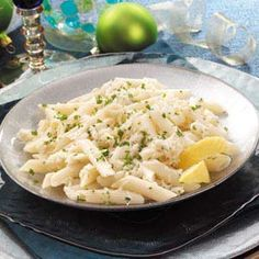 Lemon-Garlic Penne with Crab. Needs cheese, also maybe flour to make more of a sauce consistency. Also, make sure to use real crab.