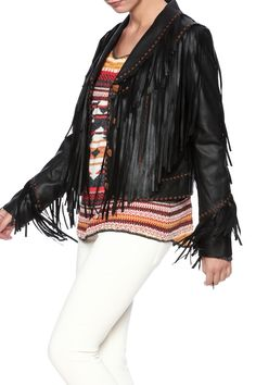 Black leather jacket with long fringe detailing, button front closure, shoulder button tab detailing, and a collar neckline.    Fringe Leather Jacket by Tasha Polizzi. Clothing - Jackets, Coats & Blazers - Jackets - Leather Saratoga, Wyoming
