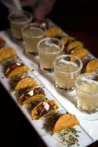 YUMMY! Mini tacos and margarita shots for the cocktail hour. #wedding #food