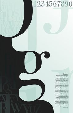 I like the use of layering of light and shadow used to give depth to this poster bodoni poster