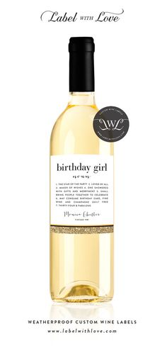 Birthday Wine Label  Birthday Gift Wine Label  Custom Wine Label