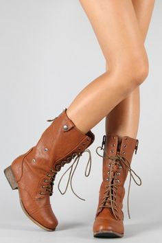 Womens Lace Up Punk Rock Mid Calf Low Heel Military Combat Boots ...