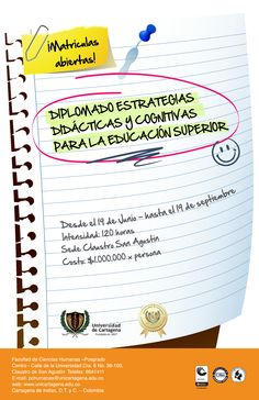 Diplomado Estrategias Didácticas y Congnitivas para la Educación Superior #Unicartagena #Diplomados #CienciasHumanas