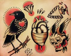 Traditional Tattoo Designs by ParlorTattooPrints on Etsy, $14.99