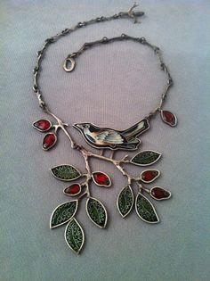 Sandra Mcewen Cloisonné Jewelry | Bird necklace