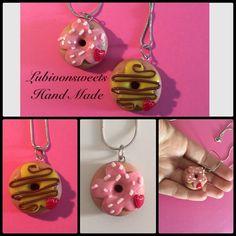 Polymer clay Hand Made donut necklace. Collane ciambella in fimo, fatta a mano. Lubivonsweets Hand Made ❤️