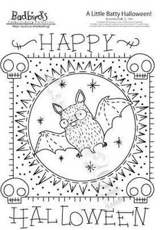 A Batty Halloween Embroidery Pattern