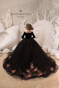 Black satin tulle long sleeves formal flower girl dress