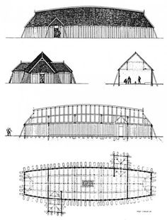 Drawings of reconstructed viking age house from Fyrkat