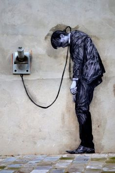 Reload (detail) - Street art by Levalet (Charles Leval, Paris XIII, 2 january The world today 3d Street Art, Urban Street Art, Amazing Street Art, Street Art Graffiti, Street Artists, Urban Art, Amazing Art, Land Art, Arte Banksy