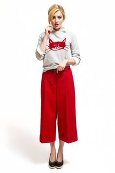 Sandro cat sweater, J. Crew button-down, Farylrobin shoes, and J.Crew belt.