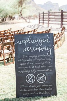 Rustic/Glam Outdoor DIY Wedding in the Arizona Desert ~ unplugged chalkboard wedding sign