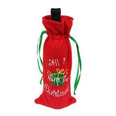 Hoomall 1PC Housse de Vin Couverture Bouteille de Vin Noël Rouge: Taille : 32x13cm Idéal pour la décoration de Noël ou cadeau de Noël Il…