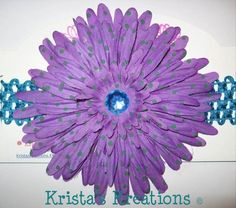 "#9005: XL Purple & Teal Dot Spider Daisy; Teal Rhinestone; 1.5"" Teal Headband https://www.facebook.com/KristasKreationsEtc"