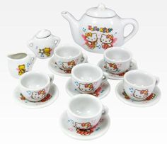 Hello Kitty Porcelain Tea Set: Melody my nieces would love this!