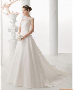 Robe de mariée satin dentelle avec traine amovible fleur