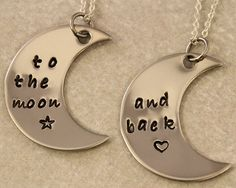 Love You To the Moon and Back - Couples Jewelry - Girlfriend Boyfriend Gift - Hand Stamped His and Her Necklaces - Stainless Steel on Wanelo