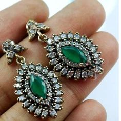 Handmade vintage sterling silver 925 earrings Gorgeous green stone and sterling silver/bronze/topaz earringsCrazy Sale, will go back to $179 Jewelry Earrings