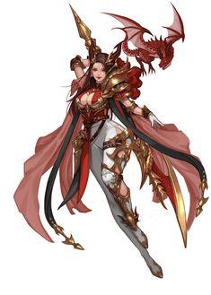 ArtStation - Dragon Knight, coco kim Anime Art Fantasy, Fantasy Girl, Fantasy Female Warrior, Fantasy Armor, Fantasy Women, Female Art, Female Character Design, Character Design References, Character Design Inspiration